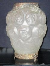 ART DECO BRONZE & FROSTED GLASS FLORAL & LEAF VASE