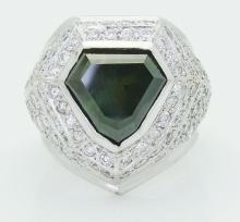 Platinum 900 5.50 TCW Fancy & VS SI F-G Round Cut Diamond Ring
