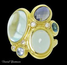 David Yurman 18k Gold Diamond Sapphire Topaz Aquamarine