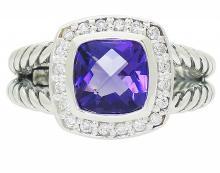 David Yurman Petite Albion 925 Silver Diamond Ring
