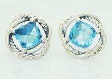 David Yurman 925 Sterling Silver Infinity Blue Topaz Diamond Stud Earrings