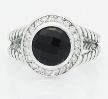David Yurman 925 Sterling Silver 8mm Black Onyx & Diamond Ring