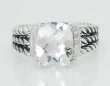 David Yurman 925 Steling Silver Albion Petite White Topaz & Diamond Ring