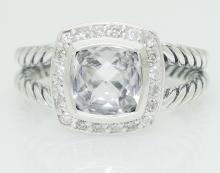 David Yurman 925 Sterling Silver White Topaz & Diamond Ring