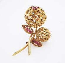 Tiffany & Co 18k Gold Diamond & Ruby Vintage Brooch