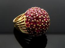 Estate 7.00 Ct TCW Ruby 18k Gold Dome Ring