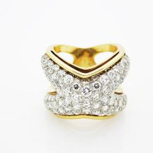 18K Yellow Gold 5 tcw Diamond Coctail Ring