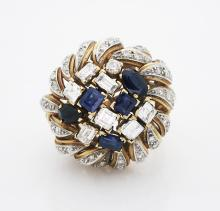 Estate 18K Yellow Gold Diamonds Sapphire Cocktail Ring