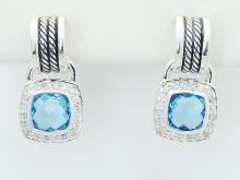 David Yurman 925 Sterling Silver Black Diamond Cross Bracelet