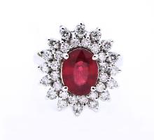 14 K Yellow Gold ring with Ruby and Diamonds
