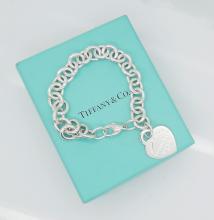 Tiffany & Co 925 Sterling Silver Heart Charm Bracelet