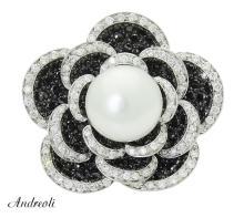 Andreoli 18k White Gold 2.80 TCW White Black Diamond & Pearl Flower Ring