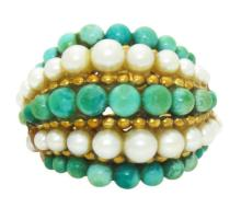 Van Cleef & Arpels 1960's Pearl & Turquoise Beaded Dome 18k Gold Ring