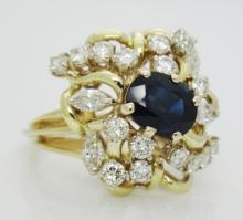 Estate 18k Yellow Gold 3.25TCW Natural Sapphire & Diamond Cocktail Ring