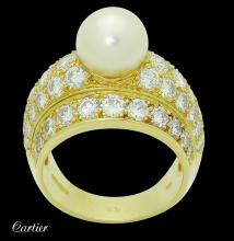 1980?s Cartier 18k Cultured Pearl & apx. 5.00 TCW Ring
