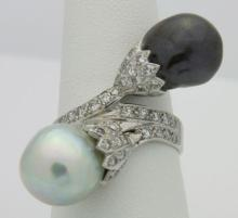 Antique 1.25 ct Diamond & South Sea Pearl Ring 14k White Gold