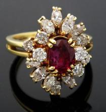 18k Yellow Gold 2.75ct Diamond & Ruby Cluster Ring size 6.5 VS I/J