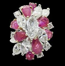 18k Gold 6.50 Carat TCW Marquise Diamond Ruby Ring