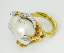 18k Gold 1.00TCW VS GH Diamonds Siamese Pearls Ring Size 6.5