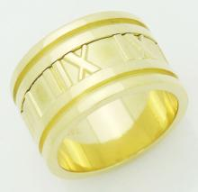 Tiffany & Co 18k Yellow Gold Atlas 12mm Wide Band Ring Size 5.5