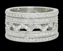 18k Gold 1.42 TCW SI1 G Diamond Openwork Band 5 Row Eternity Ring 10.3g