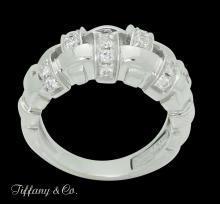 Vintage Tiffany & Co. 18k White Gold & 1.50 TCW Diamond Woven Band Ring