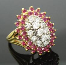 14K Yellow Gold 1.25 carats TCW Diamond and Ruby Burst Ring Size 7.25