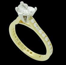 18k Gold & 1.75 TCW Diamond Engagement Ring with Heart Shape Diamond