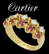 Estate Cartier 18k 0.40 Cts TCW Diamond & Ruby 2 Row Ring