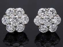 Van Cleef & Arpels 18k White Gold Large Fleurette 1.88 TCW Diamond Stud Earrings