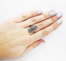 VINTAGE 18K YELLOW GOLD DIAMOND SAPPHIRE RING