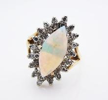 Vintage 14K Ring w Marquise shape White Opal Diamonds