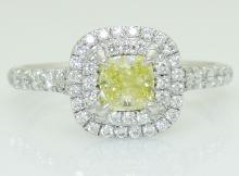 Tiffany & Co Plat/18K Cushion Yellow Diamond Soleste Ri