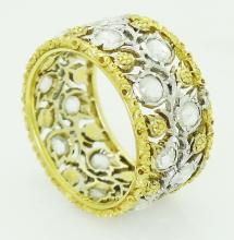Buccellati 18k Gold & Diamond Band Ring Size 6.5