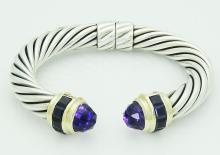 David Yurman Silver & 14K Amethyst Iolite Cable Bracele
