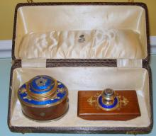 ANTIQUE RUSSIAN SILVER WOOD & GUILLOCHE ENAMEL INKWELL