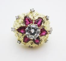 Vintage H. Stern 18K Gold Ring Diamonds & Rubies Ring