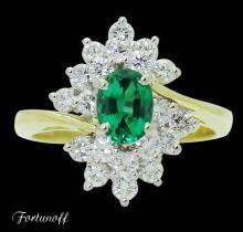 Fortunoff 18k Gold 1.00 TCW Diamond & Emerald