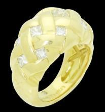 18k Gold & Apx. 2.25 Carats TCW Diamond Braided Ring