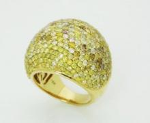 18K GOLD 6.76 TCW FANCY DIAMOND DOME RING