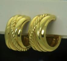 David Yurman 18k Yellow Gold Crossover Hoop Earrings