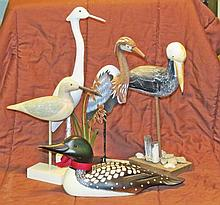 Five Carved & Decorated Water Birds