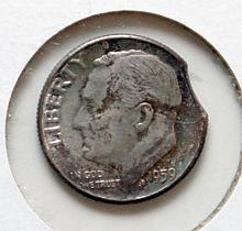 1959 Roosevelt Dime Die Clip Error Coin