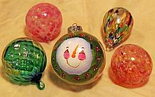 Five Hand Blown Christmas Ornaments