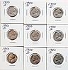 Nine 1950D Jeffereson Nickels