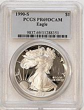 1990S American Eagle Silver Dollar PCGS PR69 DCAM