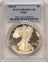 1992S American Eagle Silver Dollar PCGS PR69 DCAM