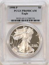 1998P American Eagle Silver Dollar PCGS PR69 DCAM