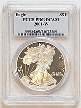 2001W American Eagle Silver Dollar PCGS PR69 DCAM