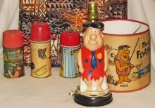 Vintage Flintstone Lamp & 3 Thermos'